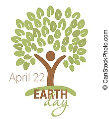 Earth Day greeting with abstract tree as human figure and leaves. April 22. vector