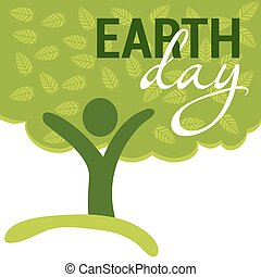 Earth Day greeting with abstract tree as human figure. vector