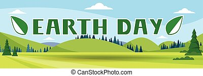 Earth Day Holiday Nature Summer Landscape Banner