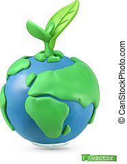 Earth Day icon. 3d vector object. Handmade plasticine art illustration
