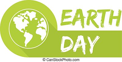 Earth day icon with green planet