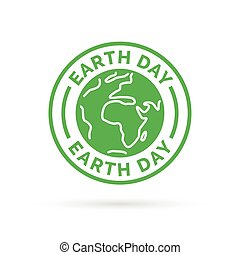 Earth day icon with green world environment symbol stamp.