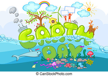 Earth Day - illustration of earth day with world under and...