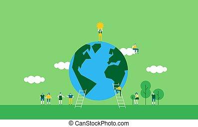 Earth Day illustration of people celebration
