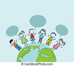 earth day illustration with children over blue background....