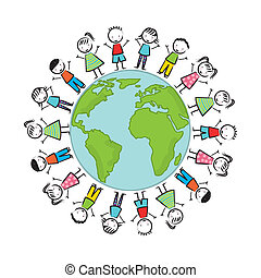 earth day illustration with children over white background....