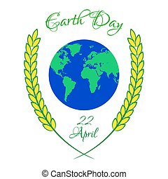 Earth Day illustration with planet and wheat ears