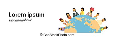 Earth Day Indian People Group Stand Around Globe Concept Horizontal Banner