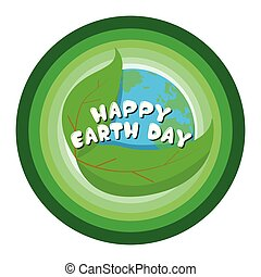 Earth day label with a planet