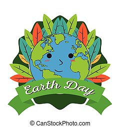 Earth day label with a planet cartoon
