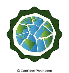 Earth day label with a planet puzzlze