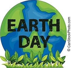 Earth day logo with text