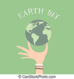 Earth Day Man Hand Hold Globe Flat