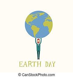 Earth Day Man Hold Globe World