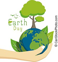 Earth day on white background vector illustration