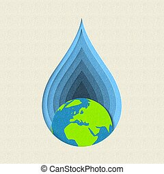 Earth day paper cut water drop concept art - Earth day paper...