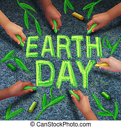 Earth Day - Earth day and environmental protection symbol as...
