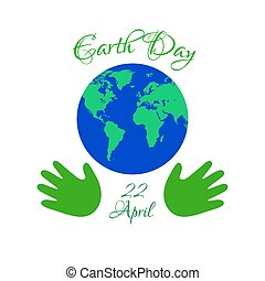 Earth day planet in kids hands.