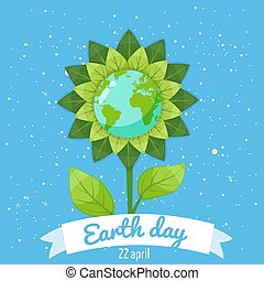 Earth day, planets in a stylized flower against a background of space, vector, cartoon style, illustration, isolated