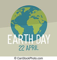 Earth day poster design in flat style. Similar world map background vector illustration. Save the planet concept.
