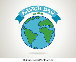 Earth day - poster with earth globe and blue ribbon. Vector illustration.