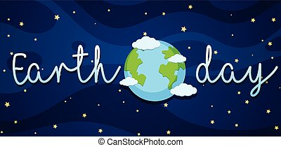 Earth day poster with earth in galaxy
