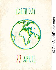Earth day - Retro poster for a Earth Day
