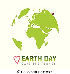 earth day save the planet globe with ladybug