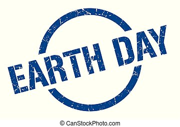 earth day stamp - earth day blue round stamp