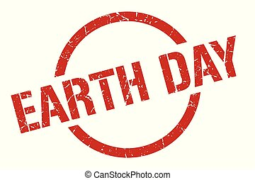 earth day stamp - earth day red round stamp