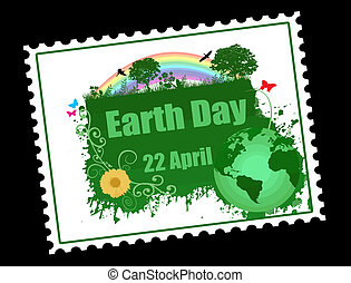 Earth day stamp with trees, flowers, birds and butterflies, vector illustration