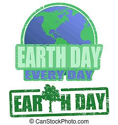 Earth day stamps - Green grunge rubber stamps with the text...