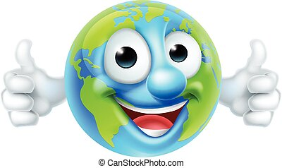 Earth Day Thumbs Up Mascot Cartoon Character - An earth...