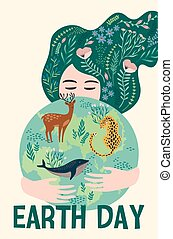 Earth Day. Vector design for card, poster, banner, flyer.