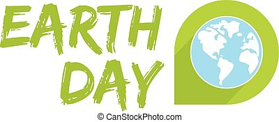 Earth day vector icon with green