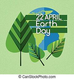 Earth Day World Globe Green Leaf