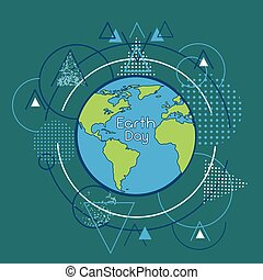 Earth Day World Globe Over Triangle Geometric Background