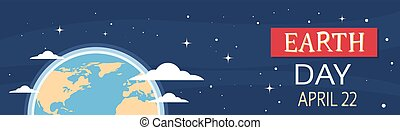 Earth Day World National April Holiday Globe Night View...
