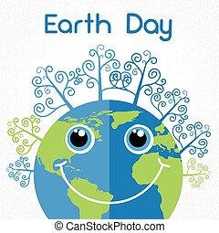 Earth Day World Smiling Globe Cartoon Character