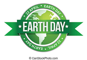earth day written inside the stamp illustration design