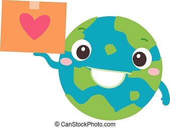 Earth Donation Mascot Global Package Illustration - ...