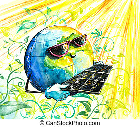 Earth in sun glasses with solar panels.