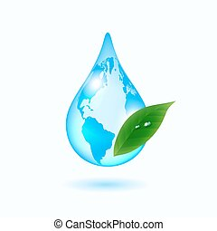 Earth drop with green leaf