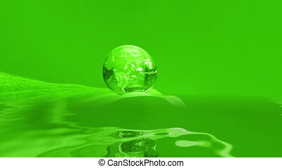Earth Droplet reflecting in water