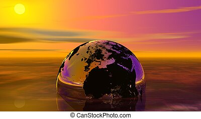Earth drowning in the sea by sunset