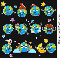 Earth emoji smiles of planet cartoon emoticons with different expressions vector isoalted icons set