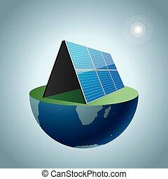 earth., energia, concetto, disegno, solare