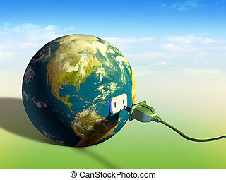 Earth energy - Electrical cord plugging into planet Earth. ...