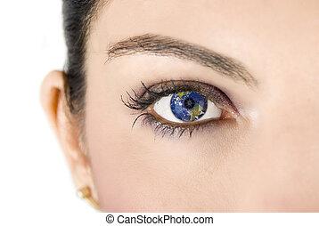 Earth eye - Female eye with earth image on white background