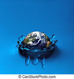 Earth falling in water